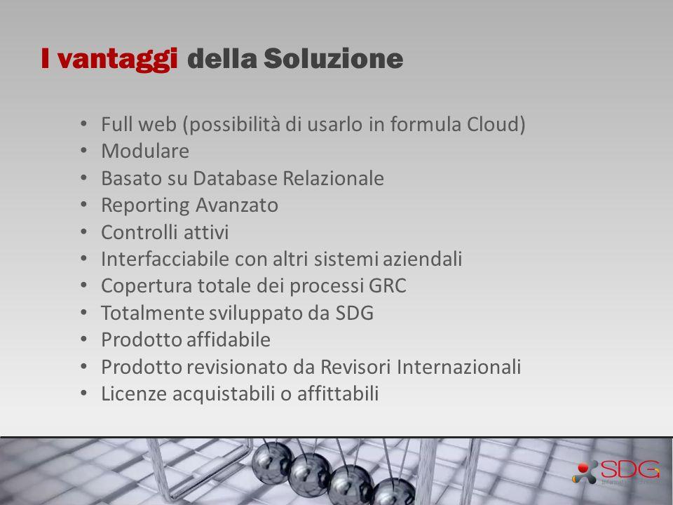 I vantaggi della Soluzione Full web (possibilità di usarlo in formula Cloud) Modulare Basato su Database Relazionale Reporting Avanzato Controlli atti