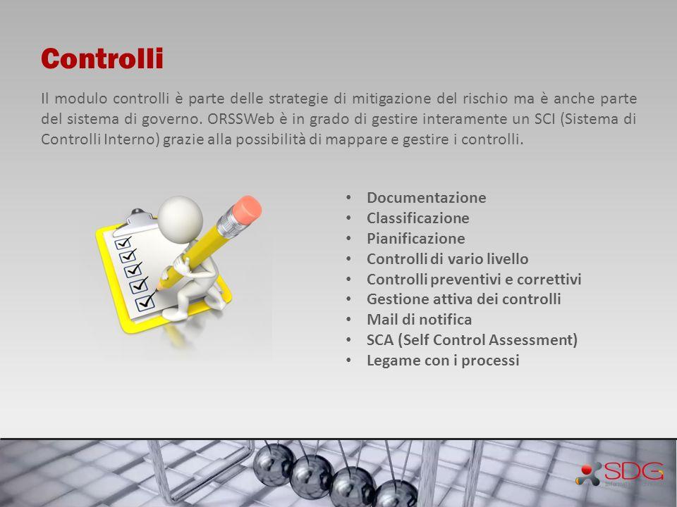 Controlli Il modulo controlli è parte delle strategie di mitigazione del rischio ma è anche parte del sistema di governo. ORSSWeb è in grado di gestir
