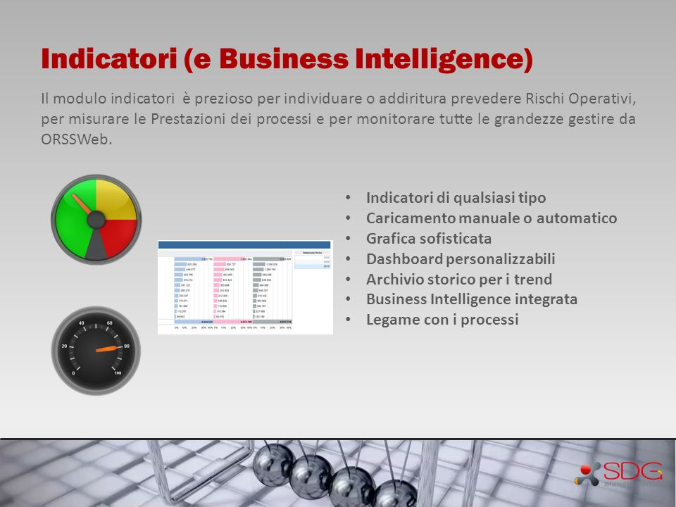 Indicatori (e Business Intelligence) Il modulo indicatori è prezioso per individuare o addiritura prevedere Rischi Operativi, per misurare le Prestazi