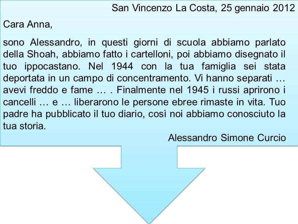 San Vincenzo La Costa, 25 gennaio 2012 Cara Anna, sono Alessandro, in questi giorni di scuola abbiamo parlato della Shoah, abbiamo fatto i cartelloni,