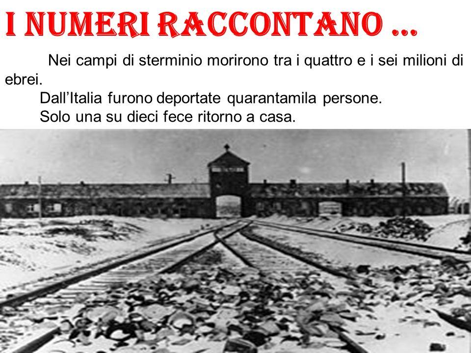 I numeri raccontano … Nei campi di sterminio morirono tra i quattro e i sei milioni di ebrei. DallItalia furono deportate quarantamila persone. Solo u