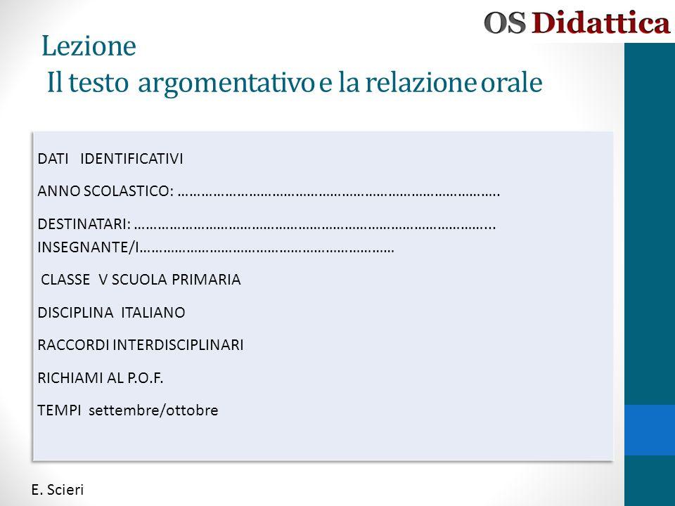 Lezione Il testo argomentativo e la relazione orale E. Scieri