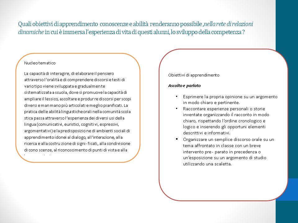 Quali obiettivi di apprendimento conoscenze e abilità renderanno possibile,nella rete di relazioni dinamiche in cui è immersa lesperienza di vita di questi alunni, lo sviluppo della competenza ?