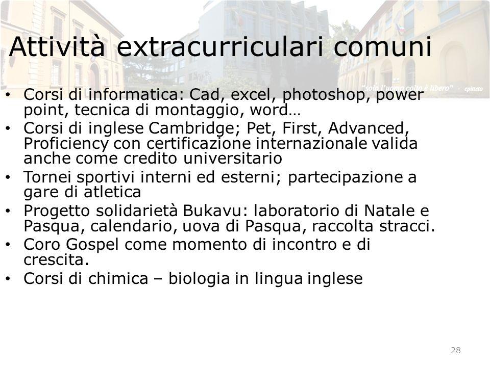 Attività extracurriculari comuni Corsi di informatica: Cad, excel, photoshop, power point, tecnica di montaggio, word… Corsi di inglese Cambridge; Pet
