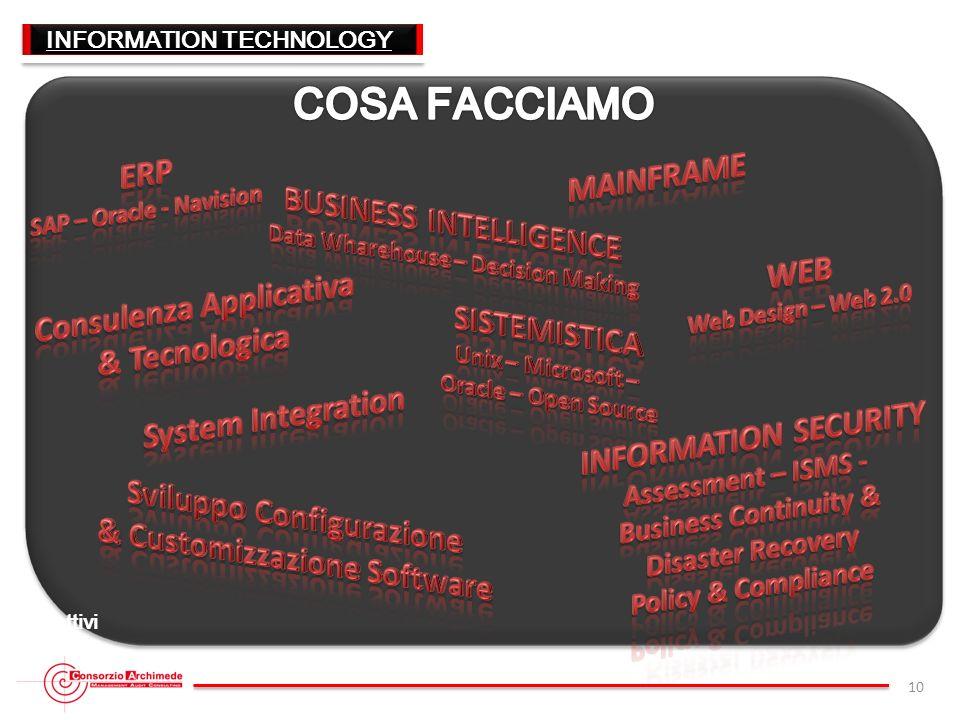 10 INFORMATION TECHNOLOGY I servizi offerti dal Consorzio Archimede si basano su competenze di altissimo profilo, professionalità e forte orientamento