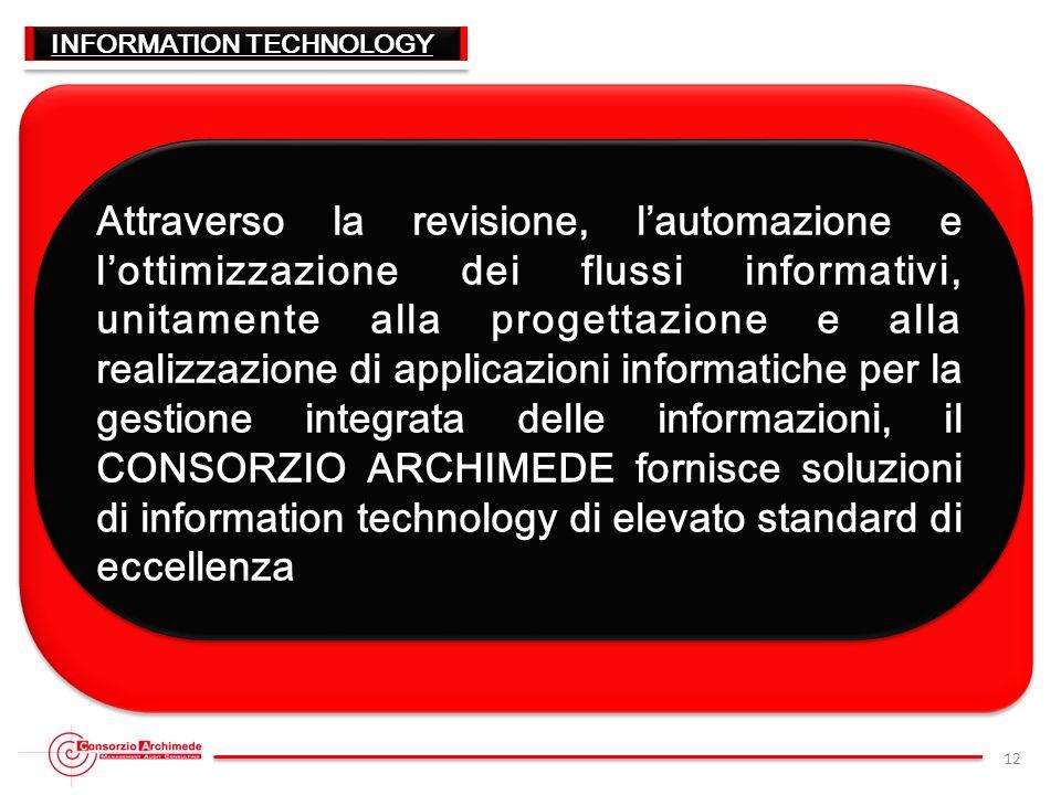 INFORMATION TECHNOLOGY Attraverso la revisione, lautomazione e lottimizzazione dei flussi informativi, unitamente alla progettazione e alla realizzazi
