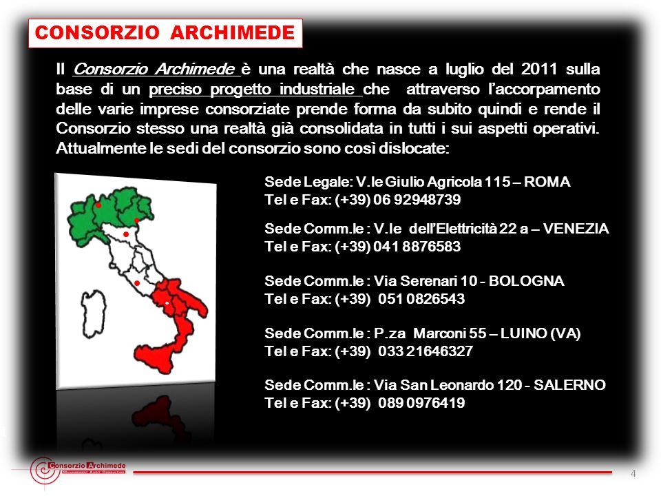 CONSORZIO ARCHIMEDE 4 Consorzio Archimede - Sede Legale V.le Giulio Agricola 115 - R.E.A. 1316806 - C.F. e P.I. 11622421003 - Tel Fax (+39) 06 9294873