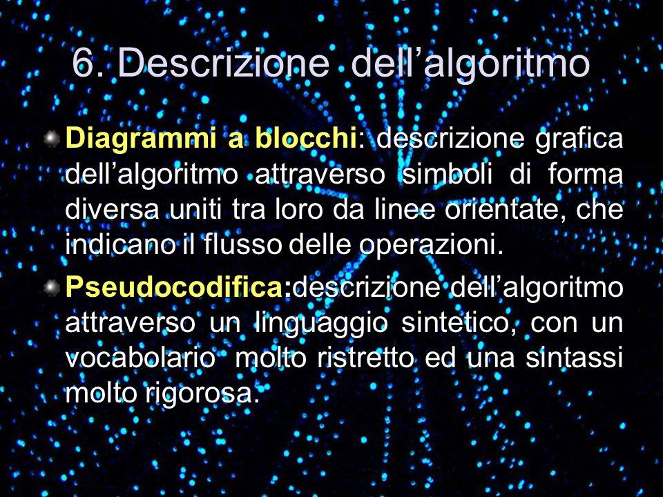 6. Descrizione dellalgoritmo Diagrammi a blocchi: descrizione grafica dellalgoritmo attraverso simboli di forma diversa uniti tra loro da linee orient