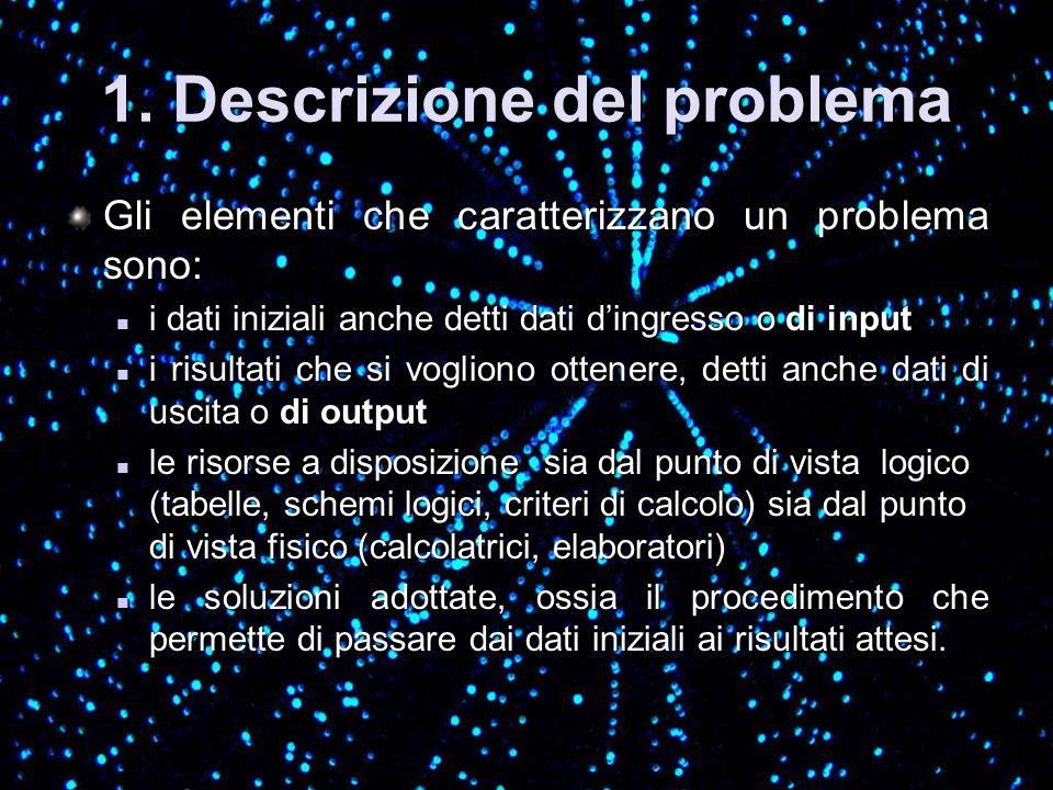 1. Descrizione del problema Gli elementi che caratterizzano un problema sono: i dati iniziali anche detti dati dingresso o di input i dati iniziali an