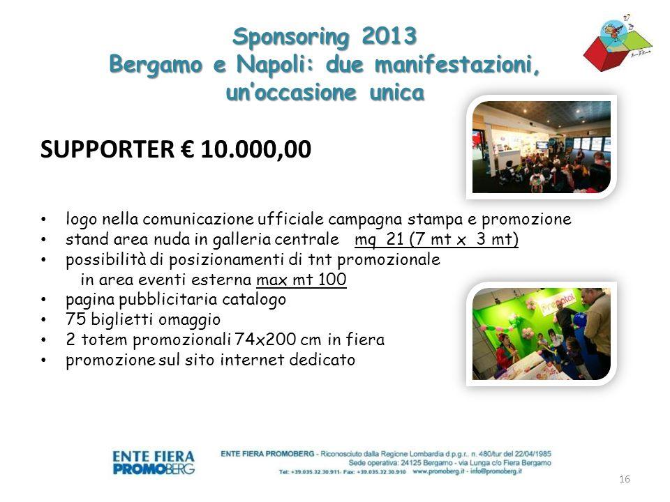 PARTNER UFFICIALE 15.000,00 allestimento e cura di unarea laboratoriale per Bergamo e Napoli con progetto dedicato.