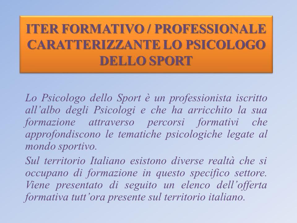 ITER FORMATIVO / PROFESSIONALE CARATTERIZZANTE LO PSICOLOGO DELLO SPORT Lo Psicologo dello Sport è un professionista iscritto allalbo degli Psicologi