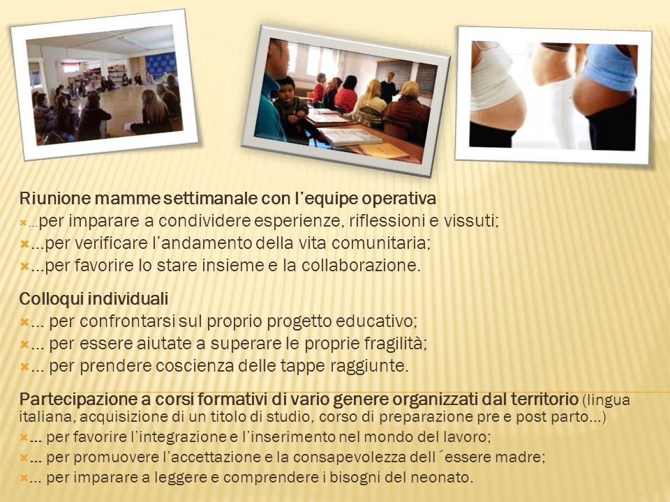 Riunione mamme settimanale con lequipe operativa … per imparare a condividere esperienze, riflessioni e vissuti; …per verificare landamento della vita