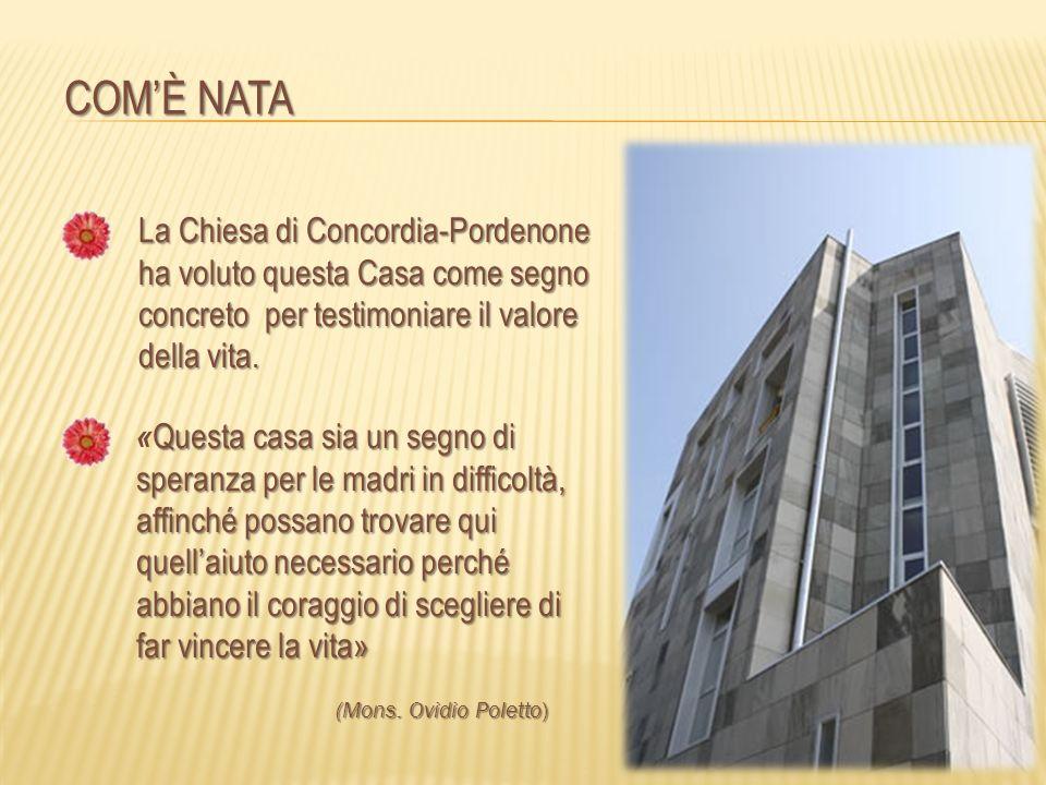 COMÈ NATA La Chiesa di Concordia-Pordenone ha voluto questa Casa come segno concreto per testimoniare il valore della vita. Questa casa sia un segno d