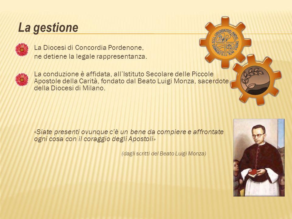 La Diocesi di Concordia Pordenone, ne detiene la legale rappresentanza. La conduzione è affidata, allIstituto Secolare delle Piccole Apostole della Ca