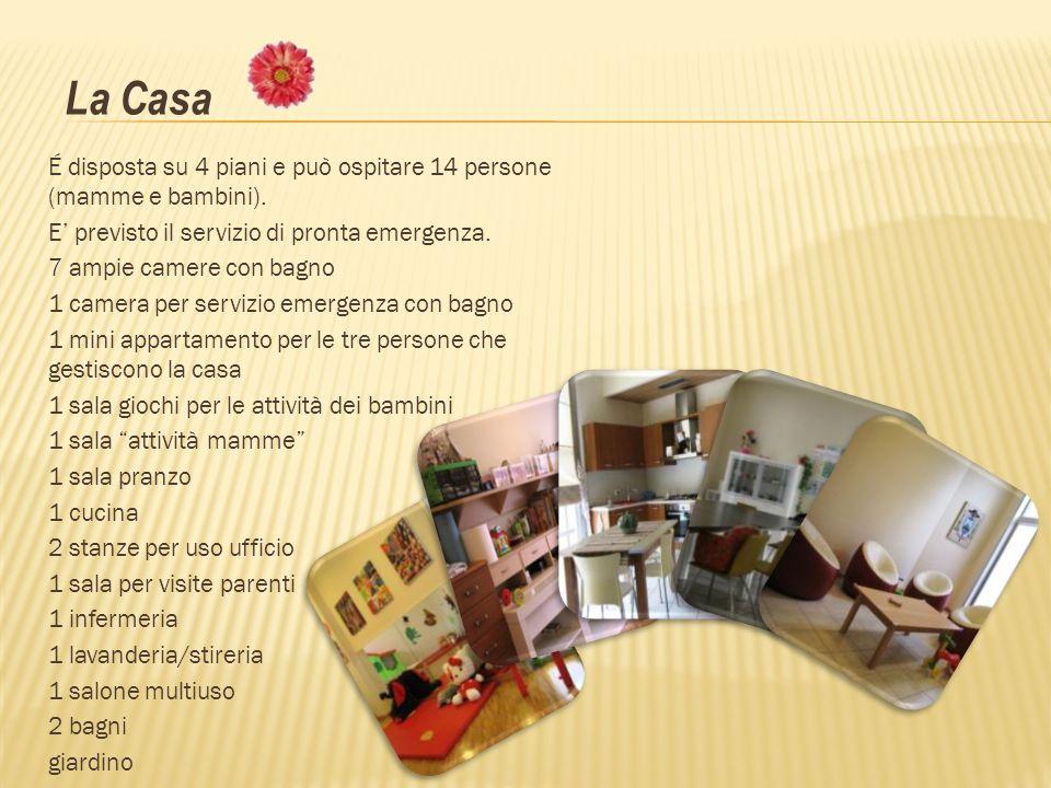 É disposta su 4 piani e può ospitare 14 persone (mamme e bambini). E previsto il servizio di pronta emergenza. 7 ampie camere con bagno 1 camera per s