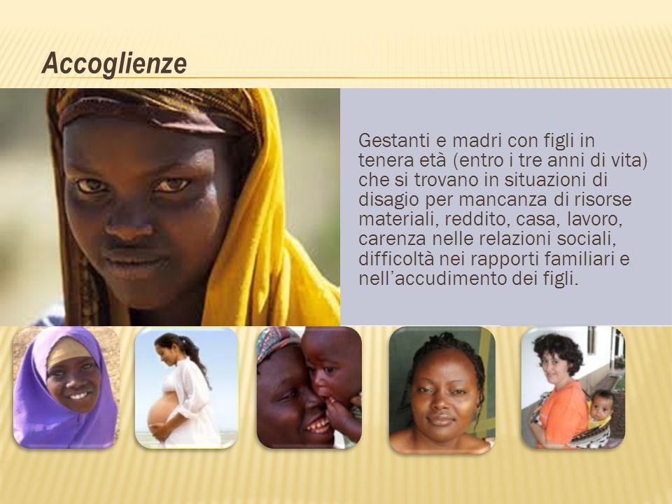 Accoglienze Gestanti e madri con figli in tenera età (entro i tre anni di vita) che si trovano in situazioni di disagio per mancanza di risorse materi