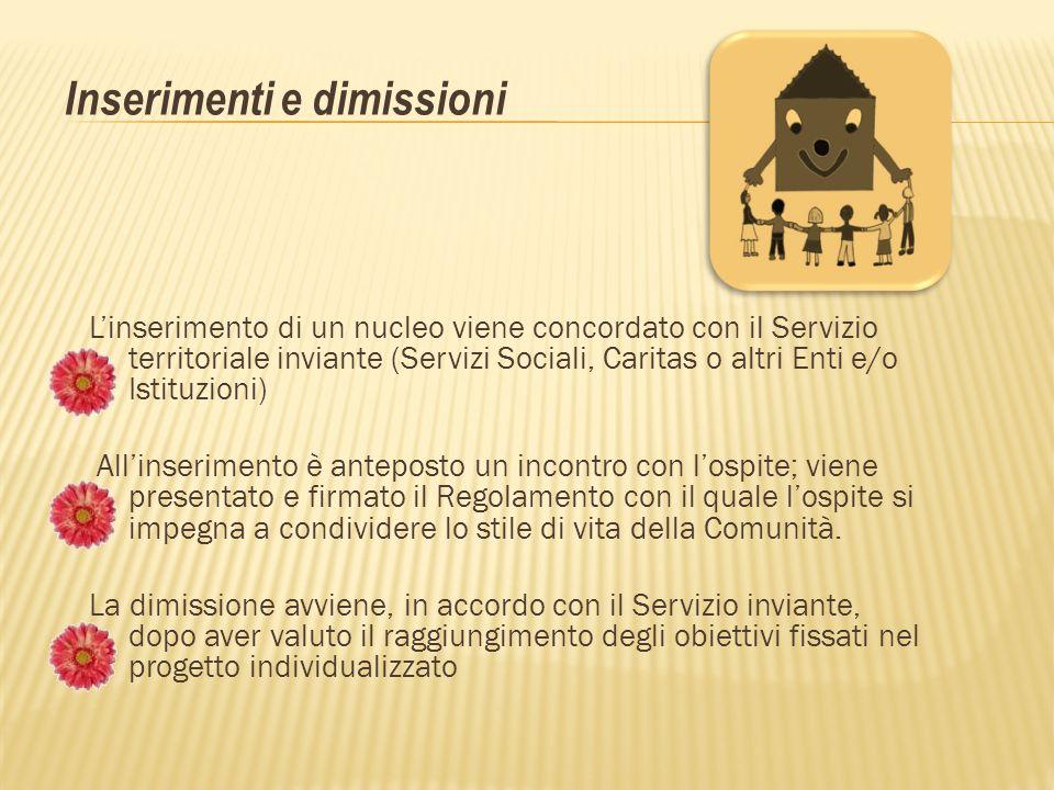 Linserimento di un nucleo viene concordato con il Servizio territoriale inviante (Servizi Sociali, Caritas o altri Enti e/o Istituzioni) Allinseriment