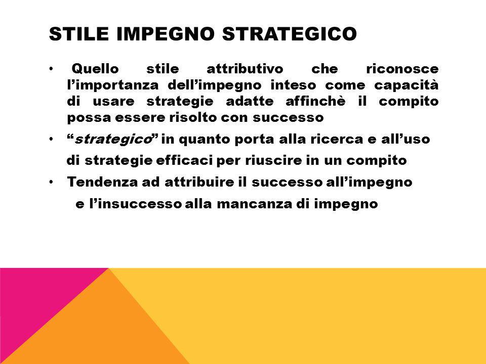 STILE IMPEGNO STRATEGICO Quello stile attributivo che riconosce limportanza dellimpegno inteso come capacità di usare strategie adatte affinchè il com