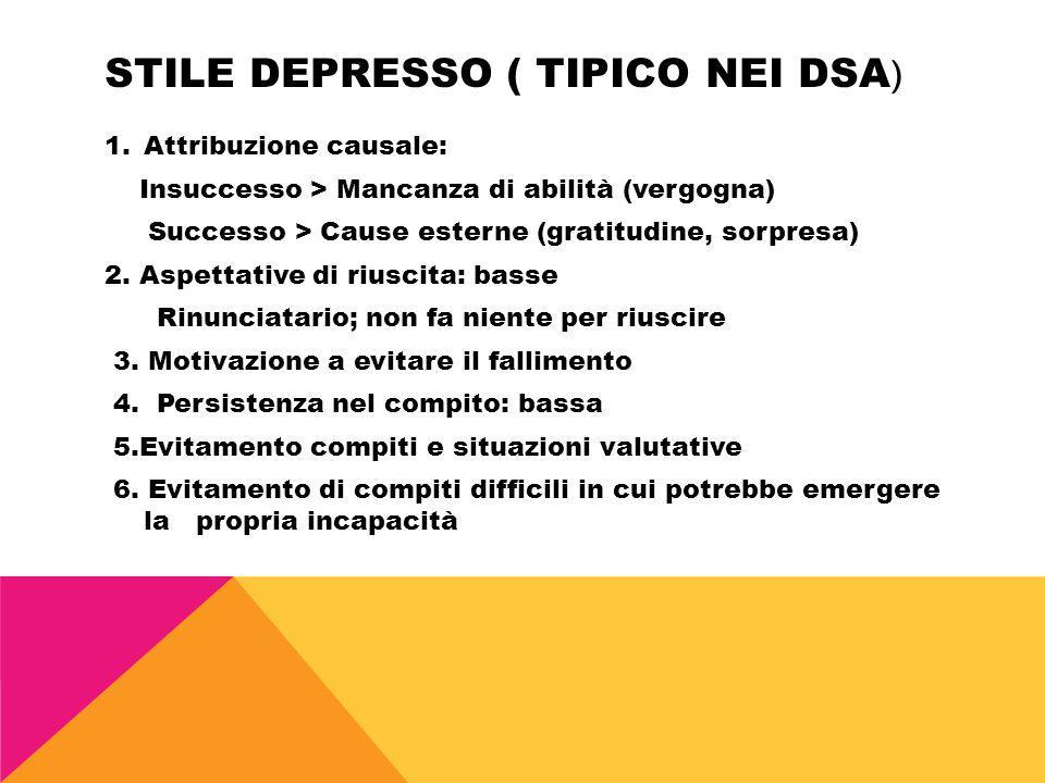 STILE DEPRESSO ( TIPICO NEI DSA ) 1.Attribuzione causale: Insuccesso > Mancanza di abilità (vergogna) Successo > Cause esterne (gratitudine, sorpresa)