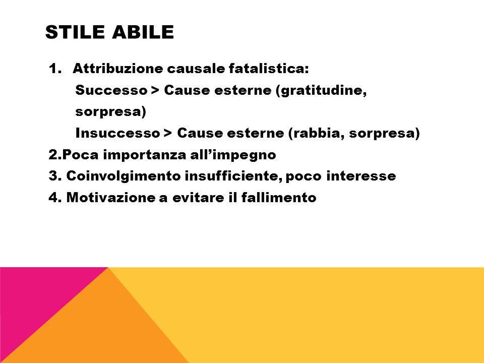 STILE ABILE 1.Attribuzione causale fatalistica: Successo > Cause esterne (gratitudine, sorpresa) Insuccesso > Cause esterne (rabbia, sorpresa) 2.Poca