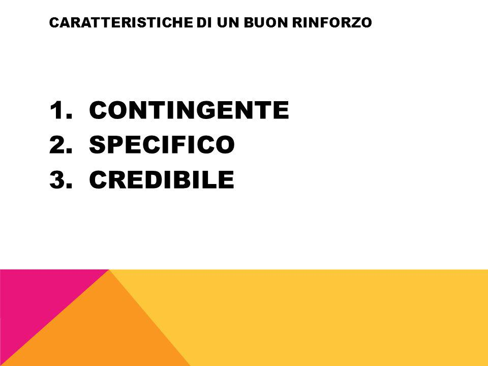 CARATTERISTICHE DI UN BUON RINFORZO 1.CONTINGENTE 2.SPECIFICO 3.CREDIBILE