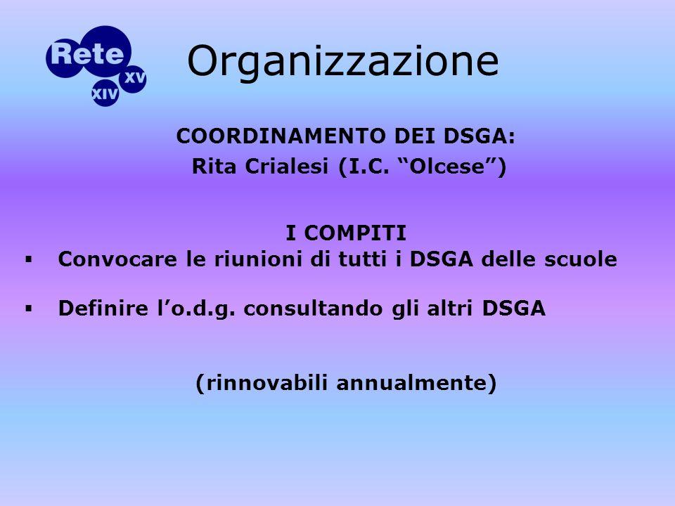 COORDINAMENTO DEI DSGA: Rita Crialesi (I.C.