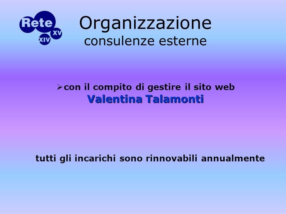 con il compito di gestire il sito web Valentina Talamonti Organizzazione consulenze esterne tutti gli incarichi sono rinnovabili annualmente
