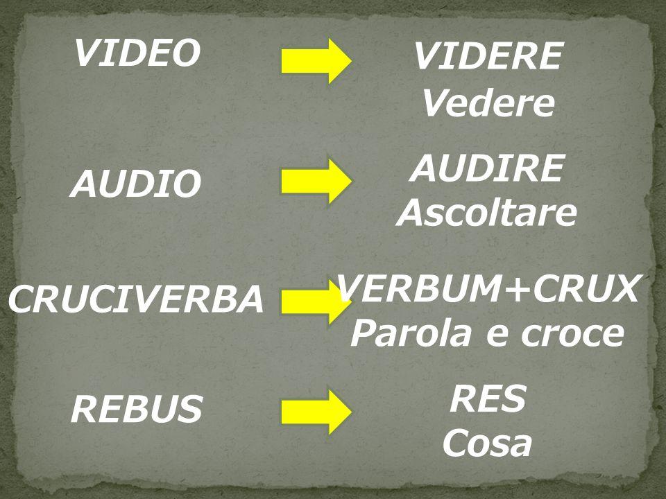 VIDEO VIDERE Vedere AUDIRE Ascoltare AUDIO VERBUM+CRUX Parola e croce CRUCIVERBA RES Cosa REBUS