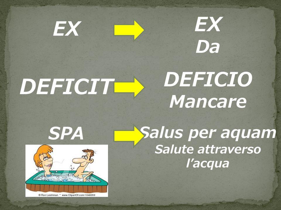 EX Da DEFICIT DEFICIO Mancare SPA Salus per aquam Salute attraverso lacqua