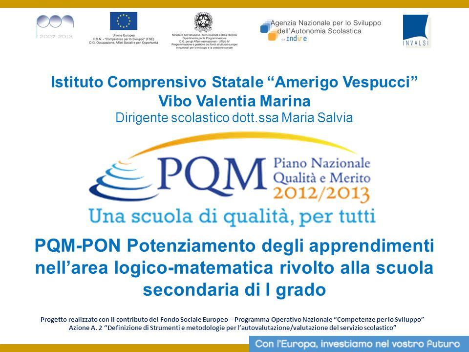 Istituto Comprensivo Statale Amerigo Vespucci Vibo Valentia Marina Dirigente scolastico dott.ssa Maria Salvia PQM-PON Potenziamento degli apprendiment