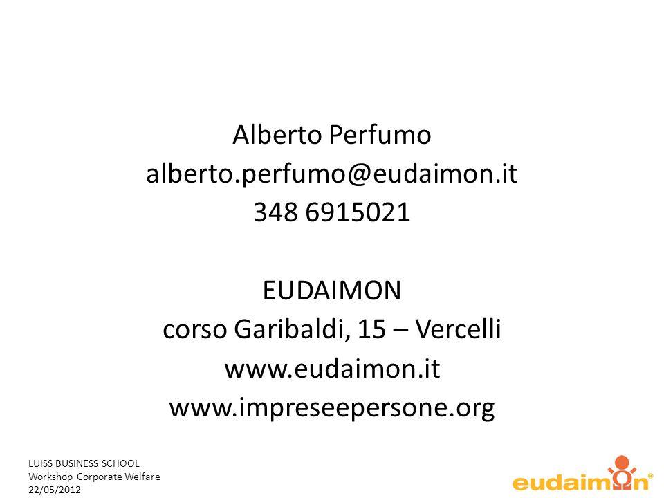 LUISS BUSINESS SCHOOL Workshop Corporate Welfare 22/05/2012 Alberto Perfumo alberto.perfumo@eudaimon.it 348 6915021 EUDAIMON corso Garibaldi, 15 – Vercelli www.eudaimon.it www.impreseepersone.org