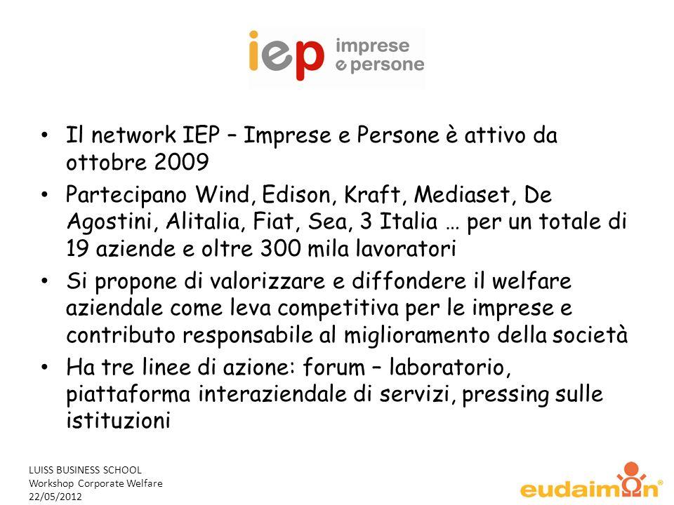 LUISS BUSINESS SCHOOL Workshop Corporate Welfare 22/05/2012 Il network IEP – Imprese e Persone è attivo da ottobre 2009 Partecipano Wind, Edison, Kraf