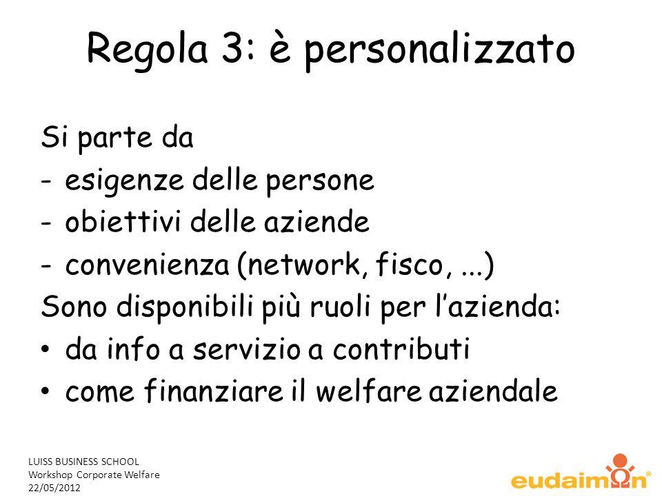LUISS BUSINESS SCHOOL Workshop Corporate Welfare 22/05/2012 Regola 3: è personalizzato Si parte da -esigenze delle persone -obiettivi delle aziende -c