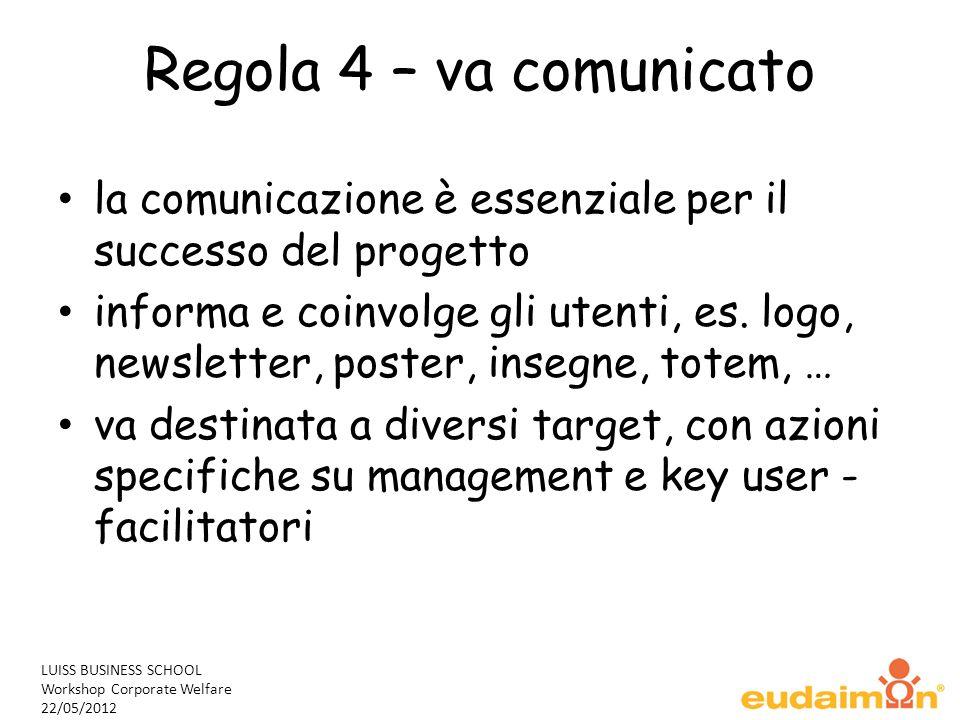 LUISS BUSINESS SCHOOL Workshop Corporate Welfare 22/05/2012 Regola 4 – va comunicato la comunicazione è essenziale per il successo del progetto informa e coinvolge gli utenti, es.