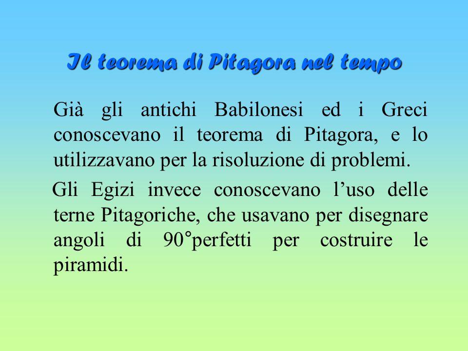 Il teorema di Pitagora nel tempo Già gli antichi Babilonesi ed i Greci conoscevano il teorema di Pitagora, e lo utilizzavano per la risoluzione di problemi.