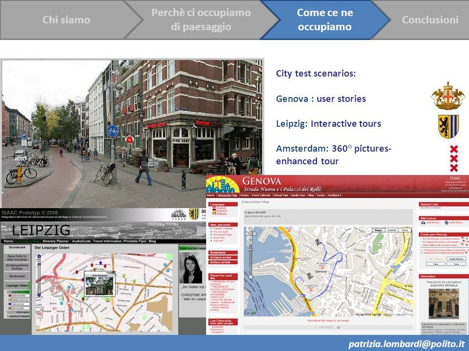 18 City test scenarios: Genova : user stories Leipzig: Interactive tours Amsterdam: 360° pictures- enhanced tour Chi siamo Perchè ci occupiamo di paes