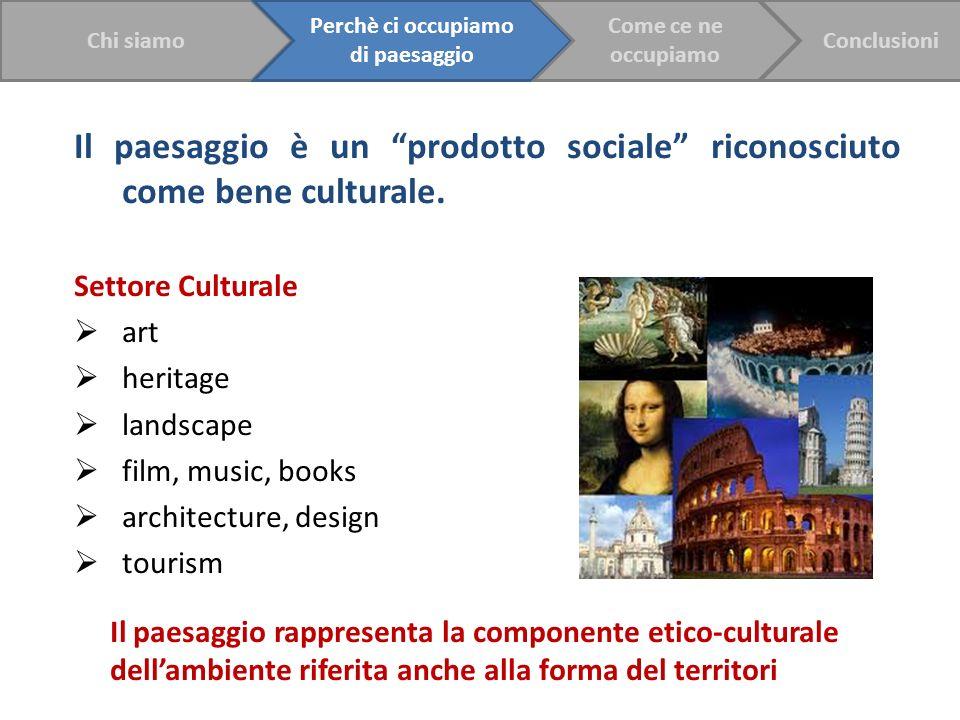 Il paesaggio è un prodotto sociale riconosciuto come bene culturale. Settore Culturale art heritage landscape film, music, books architecture, design