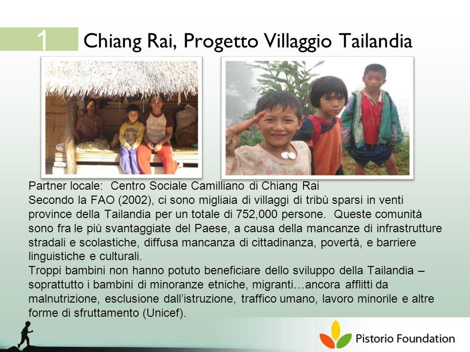 Chiang Rai, Progetto Villaggio Tailandia 1 Partner locale: Centro Sociale Camilliano di Chiang Rai Secondo la FAO (2002), ci sono migliaia di villaggi di tribù sparsi in venti province della Tailandia per un totale di 752,000 persone.