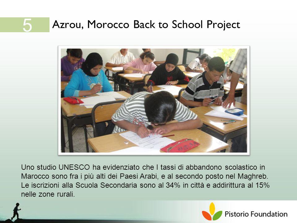 Azrou, Morocco Back to School Project 5 Uno studio UNESCO ha evidenziato che I tassi di abbandono scolastico in Marocco sono fra i più alti dei Paesi Arabi, e al secondo posto nel Maghreb.