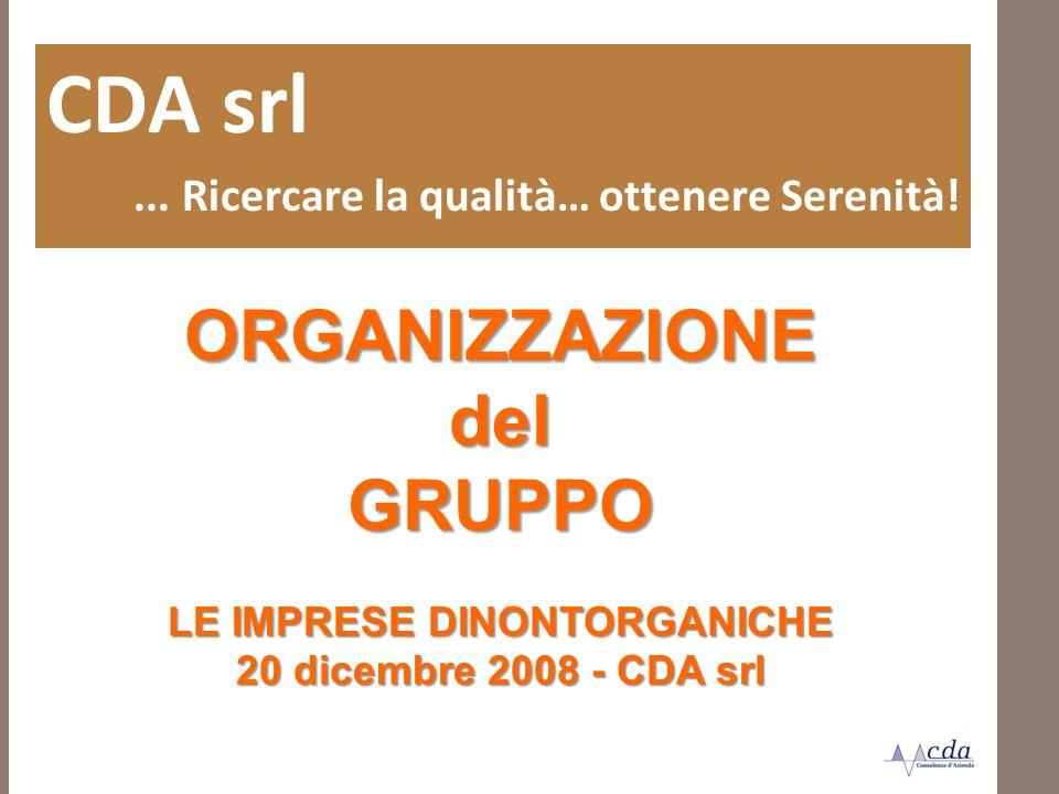 ORGANIZZAZIONEdelGRUPPO LE IMPRESE DINONTORGANICHE 20 dicembre 2008 - CDA srl CDA srl... Ricercare la qualità… ottenere Serenità!