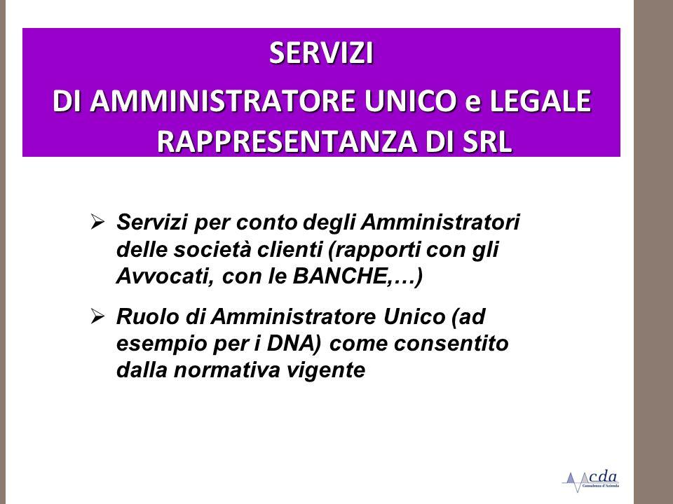 SERVIZI DI AMMINISTRATORE UNICO e LEGALE RAPPRESENTANZA DI SRL Servizi per conto degli Amministratori delle società clienti (rapporti con gli Avvocati