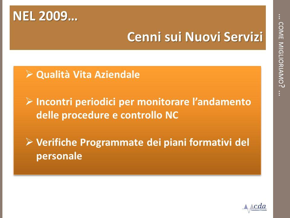 … COME MIGLIORIAMO ? … NEL 2009… Cenni sui Nuovi Servizi Qualità Vita Aziendale Incontri periodici per monitorare landamento delle procedure e control