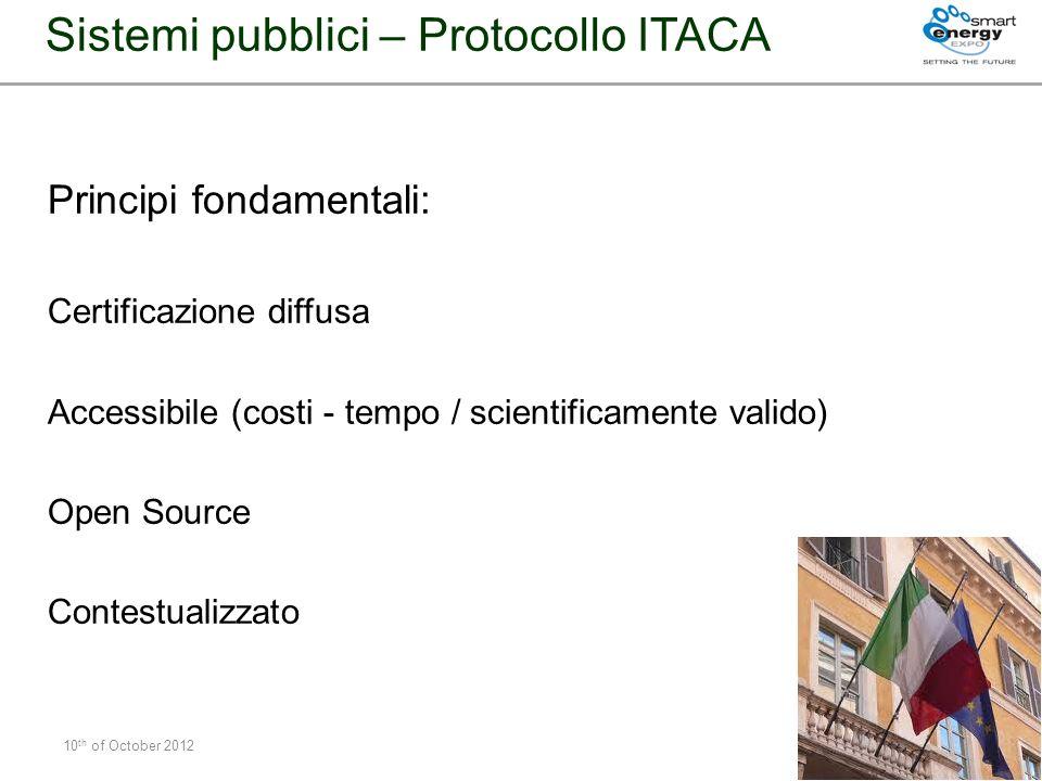 Principi fondamentali: Certificazione diffusa Accessibile (costi - tempo / scientificamente valido) Open Source Contestualizzato 10 th of October 2012
