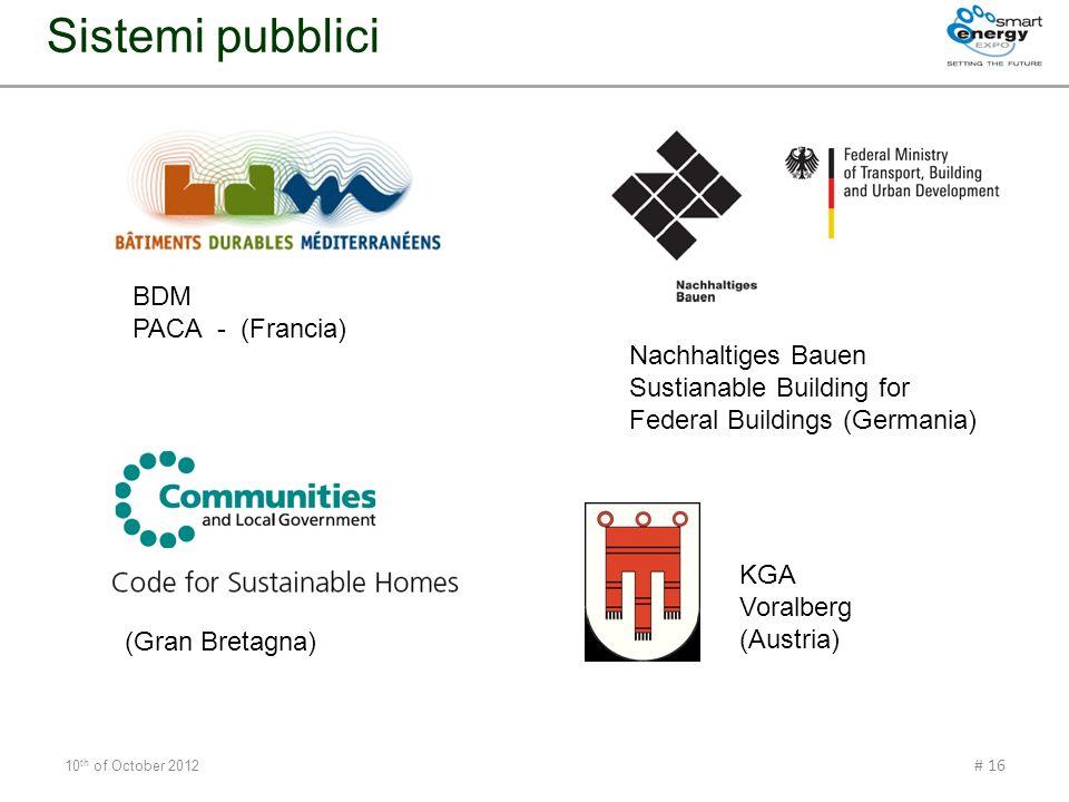 10 th of October 2012 # 16 Sistemi pubblici KGA Voralberg (Austria) BDM PACA - (Francia) Nachhaltiges Bauen Sustianable Building for Federal Buildings