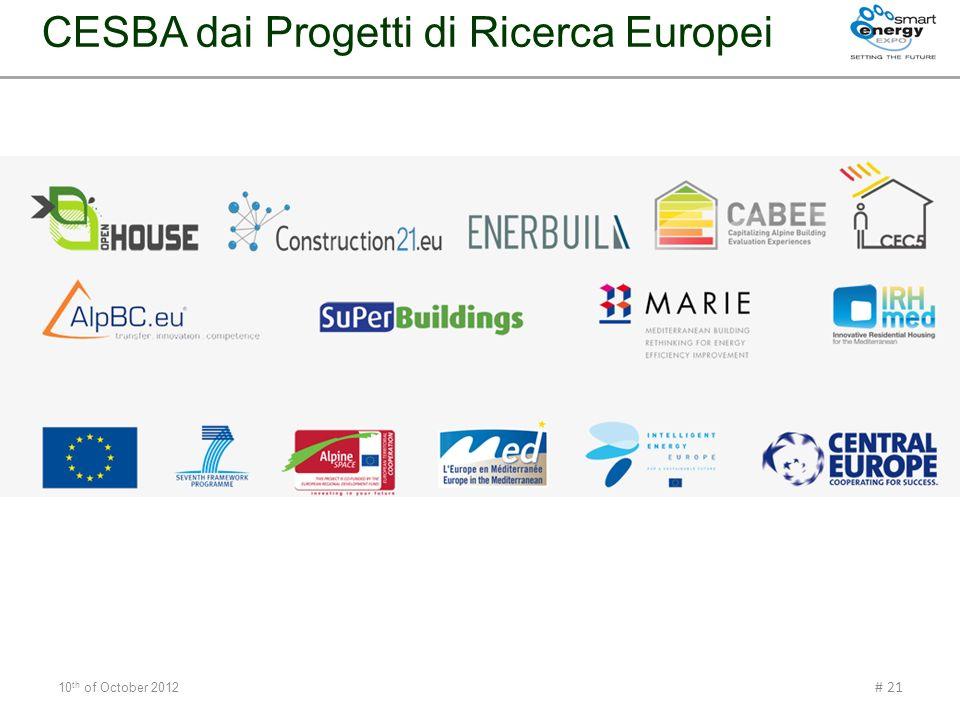 10 th of October 2012 # 21 CESBA dai Progetti di Ricerca Europei