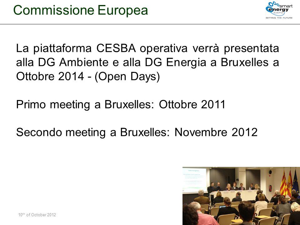 10 th of October 2012 # 23 La piattaforma CESBA operativa verrà presentata alla DG Ambiente e alla DG Energia a Bruxelles a Ottobre 2014 - (Open Days)