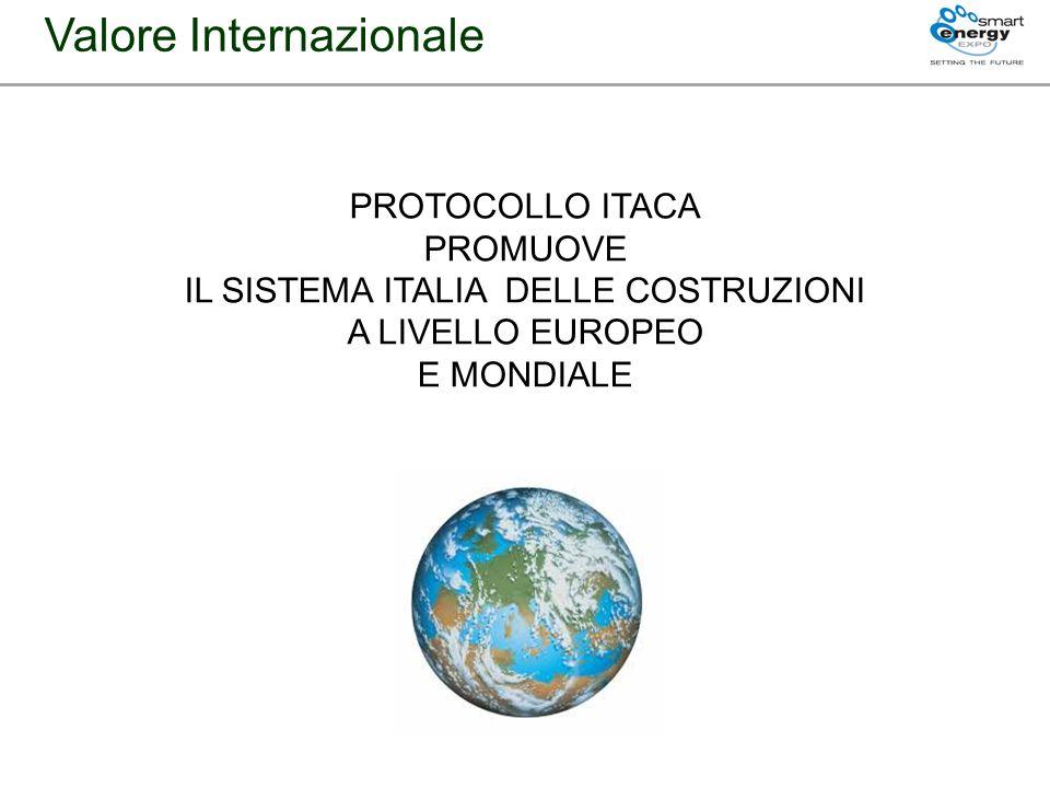 Valore Internazionale PROTOCOLLO ITACA PROMUOVE IL SISTEMA ITALIA DELLE COSTRUZIONI A LIVELLO EUROPEO E MONDIALE
