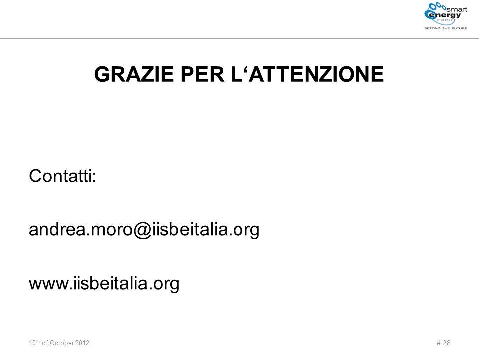 GRAZIE PER LATTENZIONE Contatti: andrea.moro@iisbeitalia.org www.iisbeitalia.org 10 th of October 2012 # 28