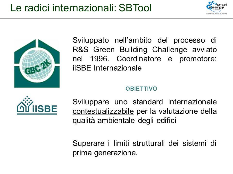 Le radici internazionali: SBTool Sviluppato nellambito del processo di R&S Green Building Challenge avviato nel 1996. Coordinatore e promotore: iiSBE
