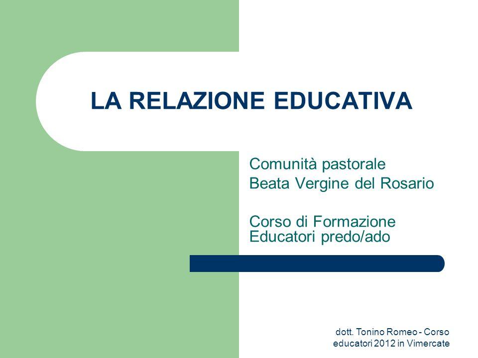 Comunità pastorale Beata Vergine del Rosario Corso di Formazione Educatori predo/ado LA RELAZIONE EDUCATIVA dott. Tonino Romeo - Corso educatori 2012